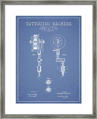 Tattooing Machine Patent From 1891 - Light Blue Framed Print