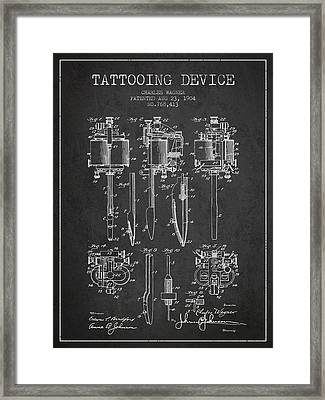 Tattooing Machine Patent From 1904 - Charcoal Framed Print