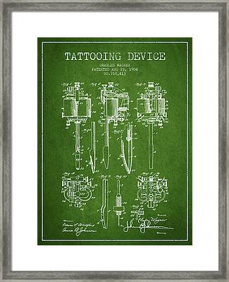 Tattooing Machine Patent From 1904 - Green Framed Print