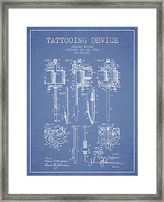 Tattooing Machine Patent From 1904 - Light Blue Framed Print