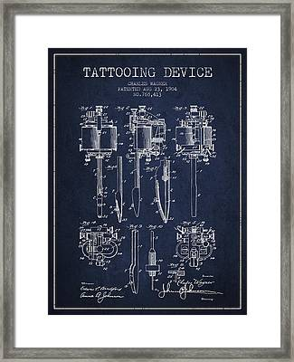 Tattooing Machine Patent From 1904 - Navy Blue Framed Print