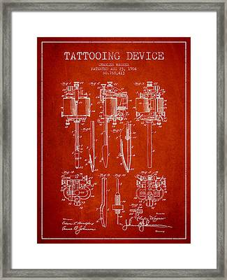 Tattooing Machine Patent From 1904 - Red Framed Print