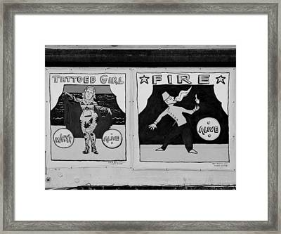 Tattoos And Fire In Black And White Framed Print