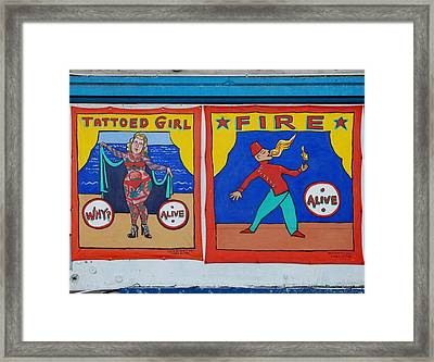 Tattoos And Fire Framed Print