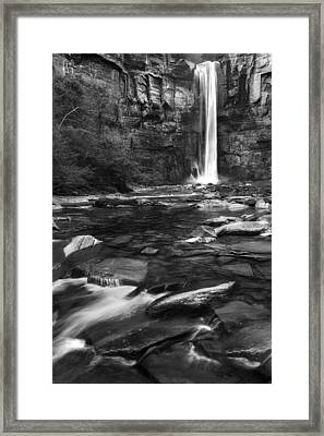 Taughannock Black And White Framed Print by Bill Wakeley