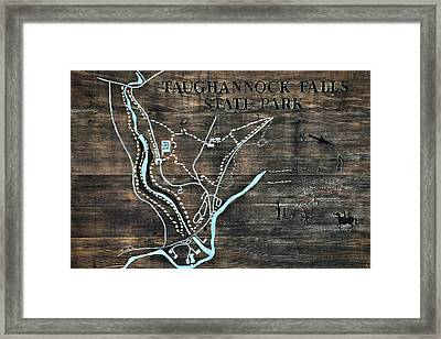 Taughannock Falls State Park Trail Map Sign Framed Print by Christina Rollo