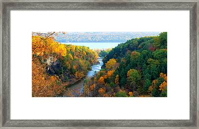 Taughannock River Canyon In Colorful Autumn Ithaca New York Panoramic Photography  Framed Print by Paul Ge