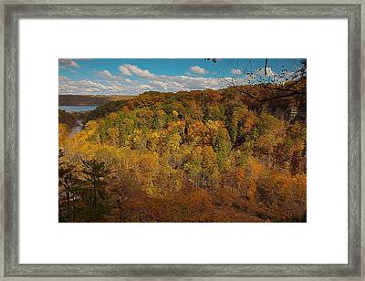 Taughannock River Canyon In Colorful Fall Ithaca New York II Framed Print