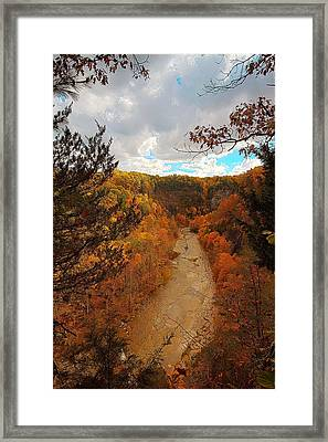 Taughannock River Canyon In Colorful Fall Ithaca New York IIi Framed Print by Paul Ge