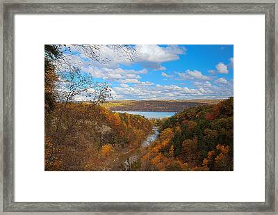 Taughannock River Canyon In Colorful Fall Ithaca New York Iv Framed Print