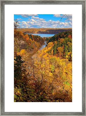 Taughannock River Canyon In Colorful Fall Ithaca New York Framed Print by Paul Ge