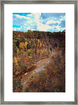 Taughannock River Canyon In Colorful Fall Ithaca New York V Framed Print