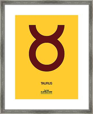 Taurus Zodiac Sign Brown Framed Print by Naxart Studio