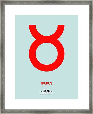 Taurus Zodiac Sign Red Framed Print