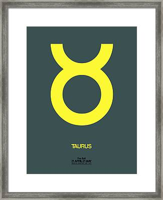 Taurus Zodiac Sign Yellow Framed Print by Naxart Studio