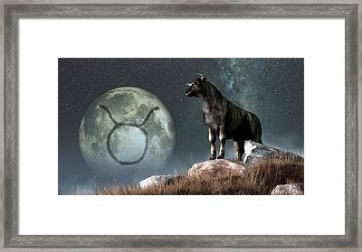 Taurus Zodiac Symbol Framed Print by Daniel Eskridge
