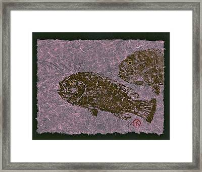 Tautog On Bubble Gum Unryu Paper Framed Print