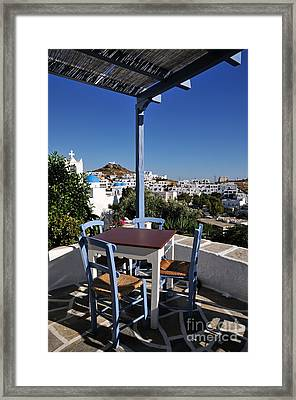 Tavern In Ios Town Framed Print