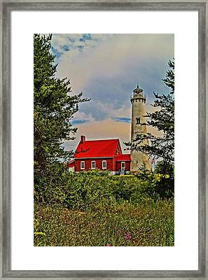 Tawas Point Light Retro Mode Framed Print