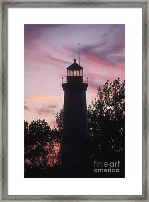 Tawas Point Light Sunset - Fs000822 Framed Print by Daniel Dempster