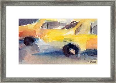 Taxi Cabs Nyc Watercolor Painting Framed Print