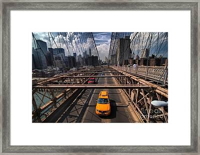 Taxi Crossing The Brooklyn Bridge Framed Print by Amy Cicconi