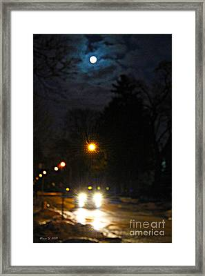 Framed Print featuring the photograph Taxi In Full Moon by Nina Silver