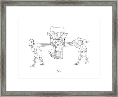 Taxi Framed Print by Saul Steinberg