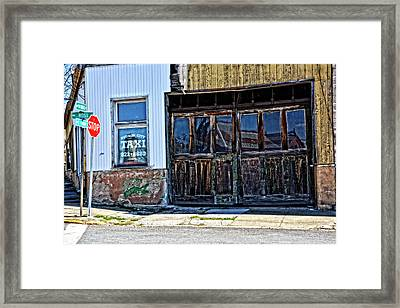 Taxi Stand Framed Print by Mike Martin