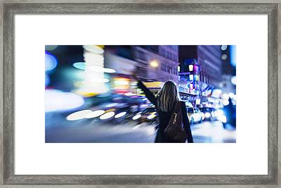 Taxi's Hunting In Manhattan Framed Print