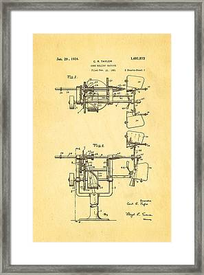 Taylor Cone Rolling Machine Patent Art 1921 Framed Print