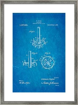 Taylor Egg Beater Patent Art 1916 Blueprint Framed Print by Ian Monk