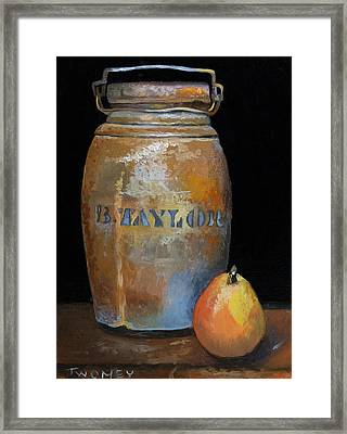Taylor Jug With Pear Framed Print by Catherine Twomey