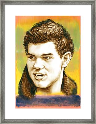 Taylor Lautner - Stylised Drawing Art Poster Framed Print