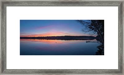 Taylor Pond With Dock At Sunset Framed Print