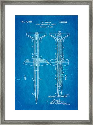 Taylor Rocket Engine Patent Art 1957 Blueprint Framed Print