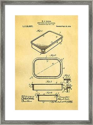 Taylor Sardine Can Patent Art 1914 Framed Print by Ian Monk