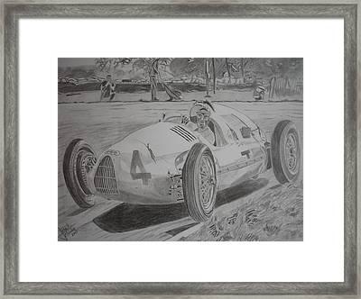 Tazio Nuvolari Framed Print by Jose Mendez