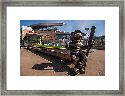 T.c. Statue And Target Field Framed Print