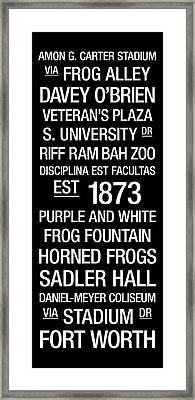 Tcu College Town Wall Art Framed Print