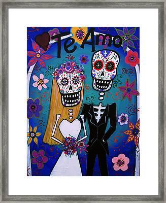 Te Amo Wedding Dia De Los Muertos Framed Print by Pristine Cartera Turkus