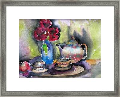 Tea And Flowers Framed Print