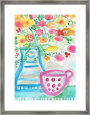 Tea And Fresh Flowers- Whimsical Floral Painting Framed Print by Linda Woods