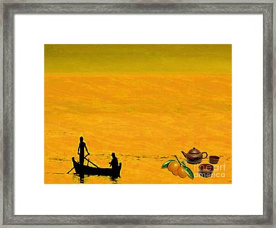 Framed Print featuring the digital art Tea And Oranges by Mojo Mendiola