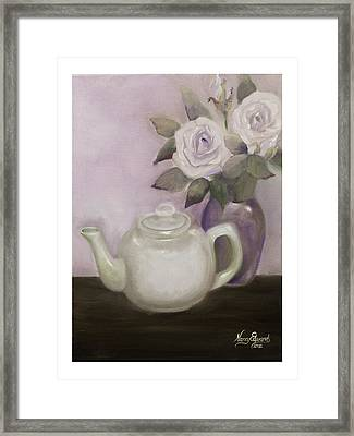 Tea And Roses Framed Print by Nancy Edwards