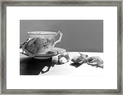 Tea And Roses Still Life Framed Print by Lisa Knechtel
