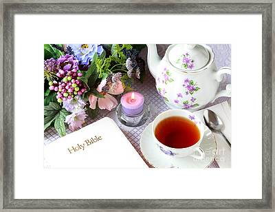 Tea And Scripture Framed Print by Pattie Calfy