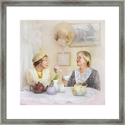 Tea And Talk Framed Print by Francesa Miller