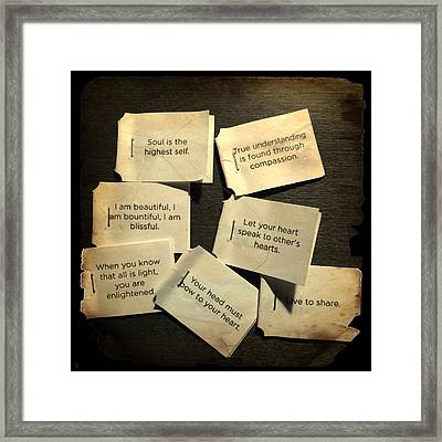Tea Bag Words Of Wisdom Framed Print by Patricia Januszkiewicz