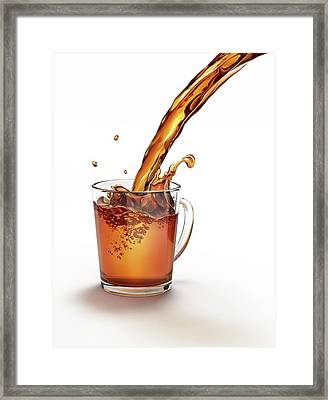 Tea Being Poured Into A Glass Framed Print by Leonello Calvetti